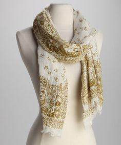 Take a look at this Green & Beige Floral Scarf by Vismaya Collection on #zulily today!