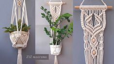How to make Macrame plant hanger. DIY gift for Mother's day – plant hanger Crochet Plant Hanger, Macrame Plant Hanger Patterns, Free Macrame Patterns, Macrame Hanging Planter, Macrame Plant Holder, Large Macrame Wall Hanging, Wall Plant Hanger, Diy Gifts For Mothers, Macrame Projects