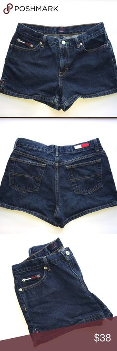 """Vintage High Waist Tommy Jeans Shorts - size 7 EUC These vintage Tommy jeans denim shorts are in Like New condition. The are high waisted (sit above naval) and are size 7 junior. They are the equivalent to a ladies size 4. Super comfortable and cute with the logo taping detail on each outside cuff. Waist 15.25"""", inseam 2.75"""", rise 9"""". Tommy Hilfiger Shorts Jean Shorts"""
