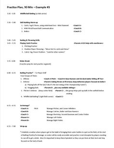 Practice Plan Hour  Example Jpg  Coaching Baseball
