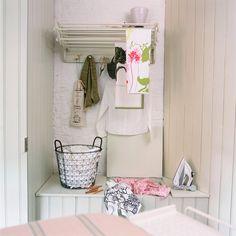 White utility room storage
