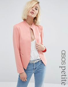 Buy ASOS PETITE Edge to Edge Ponte Blazer with Pocket at ASOS. With free delivery and return options (Ts&Cs apply), online shopping has never been so easy. Get the latest trends with ASOS now. Knit Blazer, Knit Jacket, Blazer Jacket, Rome, Asos Petite, Jackett, Color Rosa, Professional Outfits, Petite Dresses