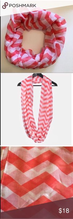 NEW Coral Chevron Infinity Scarf Adorable lightweight infinity scarf with chevron print. Lightweight enough to wear over a tank or tee in the warmer seasons or layered with a sweater or jacket during colder seasons!  • Offers Welcome • Bundle Discounts  • Suggested User • Fast Shipper Accessories Scarves & Wraps