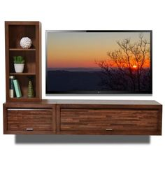 Wall Mount Entertainment TV Console - ECO GEO Mocha 2PC