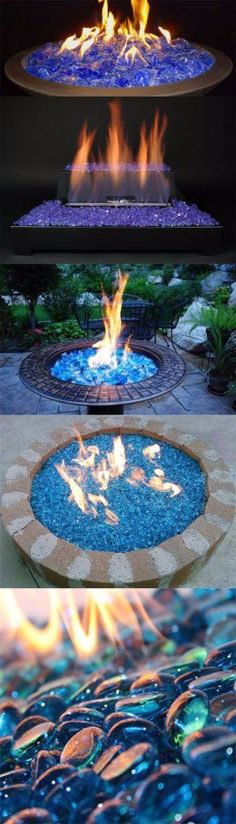 DIY Fireplace Ideas - Fireglass Ice On Fire - Do It Yourself Firepit Projects and Fireplaces for Your Yard, Patio, Porch and Home. Outdoor Fire Pit Tutorials for Backyard with Easy Step by Step Tutorials - Cool DIY Projects for Men and Women Diy Fire Pit, Fire Pit Backyard, Backyard Patio, Backyard Landscaping, Landscaping Ideas, Garden Pool, Backyard Playground, Outdoor Fire Pits, Indoor Fire Pit