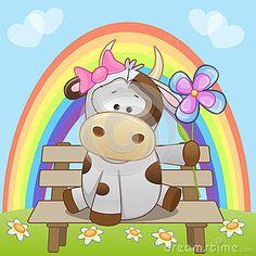 Vaca com flor