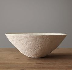 RH's Organic Textured Bowl:Our vessel showcases the beauty of a simple, flared bowl. A heavily textured surface gives the piece an organic feel, while the stone finish highlights the purity of the form. Distressed Furniture Painting, Furniture Vanity, Modern Shop, Medicine Cabinet Mirror, Organic Modern, Rug Sale, Indoor Outdoor Rugs, Wabi Sabi, Vases Decor