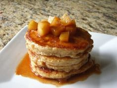 BUTTERMILK PANCAKES WITH MAPLE SYRUP APPLES: These delicious pancakes are light and moist. For a light and airy texture, avoid overmixing the batter.