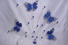 3D Beaded Butterfly | Royal-blue-and-silver-Glitter-3D-butterflies-and-beaded-cake-topper