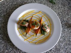 Déclinaison de Carottes, petit paquet de poulet farci et  haricots verts Gino D'Aquino