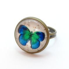 "Inel cabochon ""Butterfly"" Gemstone Rings, Butterfly, Gemstones, Jewelry, Jewlery, Gems, Jewerly, Schmuck, Jewels"