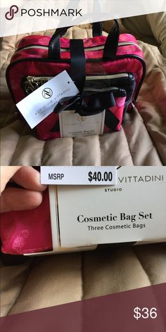 NWT ADRIENNE VITTADINI COSMETIC BAG SET Cheerful satchel set of three.  Bright pattern of pink/red hexagonal pattern for the large and small bags.  The medium sized bag is solid black with the studio logo.  Gold hardware.  Smoke-free 🏡 Adrienne Vittadini Bags Cosmetic Bags & Cases