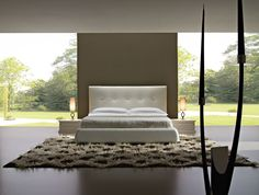 Japanese-Inspired Bedroom Designs Collection : Exquisite Japanese Style Bedroom Decorating with Tan Painted Headboard and Small Thcik White ...