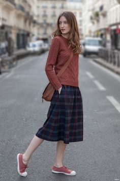 @roressclothes closet ideas #women fashion outfit #clothing style apparel Red Sweater, Plaid Skirt and Sneakers