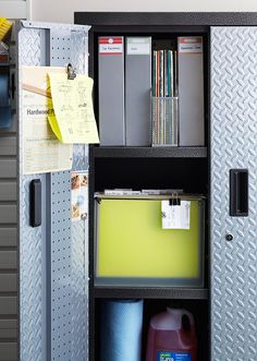 Locker Room: A tall metal locker is a safe haven for car maintenance, instruction manuals, and warranty information.