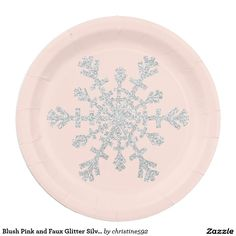 Blush Pink and Faux Glitter Silver Snowflake Paper Plate  sc 1 st  Pinterest & Holiday Snowflake with Silver Glitter Paper Plate | Snowflakes ...
