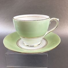 Vintage Bell Tea Cup and Saucer Mint Green England Bone China Teacup