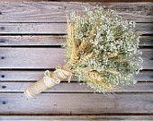 Simple Summer Wheat & Baby's Breath Bridal Bouquet - Dried Wedding Bouquet- Wheat Bouquet - Wheat