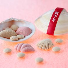 Traditional Japanese sugar candy wraped with real clamshell(by Nagatoya,since 1848)和三盆糖 貝千年(かいせんねん) 会津 本家長門屋