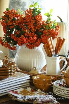 Autumn Tablescape / Thanksgiving Table / Fall Decor / - StoneGable: Harvest Buffet Love the berries in cream vase--Heck I love autumn berries in anything! Thanksgiving Tablescapes, Thanksgiving Decorations, Thanksgiving Meal, Harvest Decorations, House Decorations, Holiday Decor, Table Halloween, Fall Vignettes, Kitchen Vignettes