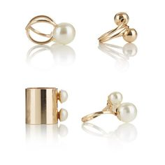 Midi Rings with Pearl Detail Gold Midi Rings, Mixed Metals, Cufflinks, Campaign, Pearl Earrings, Pearls, Detail, Outfit, Gold
