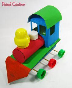 Eu Amo Artesanato: Trenzinho de caixa de leite e rolinho de papel hig...