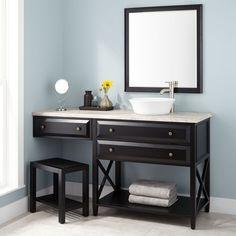 "60"" Glympton Vessel Sink Vanity with Makeup Area - Black"