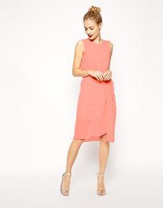 Molly's other bridesmaid dress option - Coral Drape Midi Dress in Chiffon