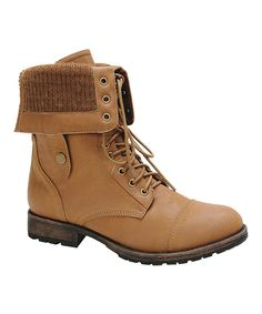 Look at this Nature Breeze Tan Knit Cuff Galaxy Fold-Over Boot on #zulily today!