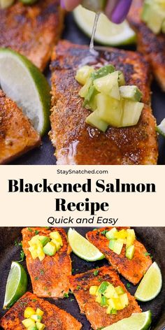 This Easy Blackened Salmon Recipe is the best seasoning for salmon loaded with spices and herbs like smoked paprika, cay Healthy Salmon Recipes, Heart Healthy Recipes, Fish Recipes, Seafood Recipes, Low Carb Recipes, Cooking Recipes, Cooking Fish, Blacken Seasoning Recipe, Salmon Seasoning