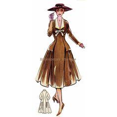 Vintage Sewing Pattern 1956 Dress PDF Plus Size (or any size)  - Pattern No 13 Antonia