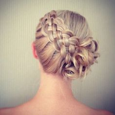 Five strand braid ends in soft curls pinned up