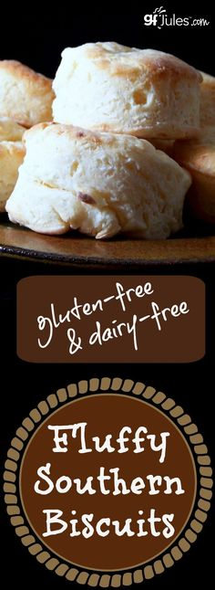 This crowd favorite Gluten-Free Fluffy Southern Biscuit Recipe is dairy-free, too! gfJules.com