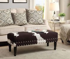 Convenience Concepts Faux Cowhide Bench with Nailheads Dimensions: x x Will provide years of enjoyment Faux cowhide upholstery / Model# Additional seating / warranty Nail head details / Easy assembly Cowhide Furniture, Cowhide Ottoman, Western Furniture, Living Room Furniture, Cowhide Decor, Cowhide Fabric, Studio Furniture, Bench Furniture, Leather Ottoman