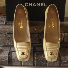 Authentic Chanel Pearl Creamy/Beige. Size 37.5 Gently used, Authentic adorable pair of patent leather loafers.  Comes with original box, small stain on top of one shoe which I never tried to clean but you can only notice it when up close. CHANEL Shoes