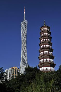 1-year-old Canton Tower & 400-year-old Chigang Pagoda