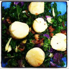 Seared scallops w organic bacon bits over bed of kale, cilantro, fennel. W ponzu/ hot sesame oil/lemon juice dressing. Yum!