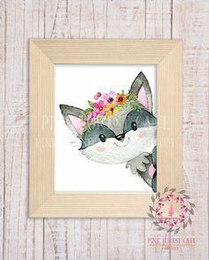 Boho Raccoon Woodland Printable Print Wall Art Watercolor Baby Nursery Decor