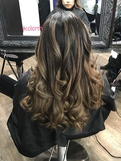 Balayage ash tone on dark hair Dark Hair, Blonde Hair, Brown Hair With Highlights, Long Curly, Curled Hairstyles, Cut And Color, Hair Colors, Hair Goals, Don't Care