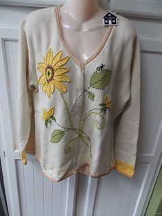 New STORYBOOK KNITS Yellow Beads Sunflower Bee Embroidered Cardigan Sweater L