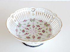 Vintage Porcelain Bowl Ceramic Bowl Pierced Bowl by designfinder