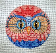Handpainted Blue and Coral Owl needlepoint canvas by colors1 (Craft Supplies & Tools, Sewing & Needlecraft Supplies, Canvas & Stitchables, ornament, pattern, embroidery, cross stitch, needlecraft, needlepoint, needlepoint canvas, funny needlepoint, needlepoint pillow, needlepoint pattern, owl, needlepoint ornament, needlepoint owl)