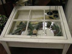 Shadow box Old window Coffee Table Optional Light Old wood