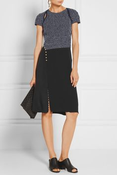 3.1 Phillip Lim | Bouclé and silk crepe de chine dress | NET-A-PORTER.COM