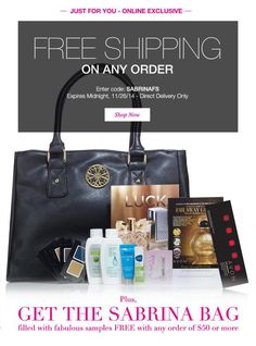TODAY ONLY get a FREE Sabrina purse and all these samples with  any $50.00 or more order when you use Coupon Code: SABRINAFS at checkout at http://ieklund.avonrepresentative.com/ This offer is only valid on Direct delivery offers and expires at midnight on 11/26/14
