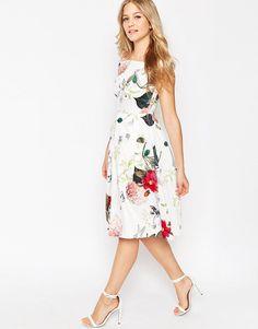 a90a5b8d3b ASOS Off The Shoulder Midi Prom Dress in Botanical Floral at asos.com