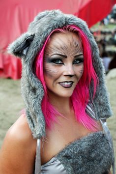 Such a cutie! Pink haired Racoon #makeup #hair #Shambhala