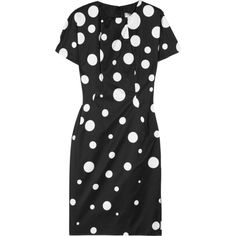Valentino Roma Polka-dot shell dress (£265) ❤ liked on Polyvore featuring dresses, polka dots, valentino, polka dot dress, black and white dot dress, spotted dress, white and black dress and black and white fitted dress