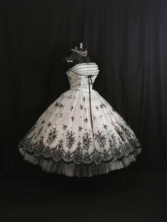 RESERVED Vintage 1950's 50s STRAPLESS Bombshell Black White Floral Flocked Velvet Chiffon Organza Party Prom Wedding DRESS