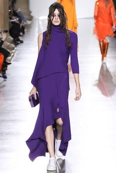Marques Almeida | Fall 2015 Ready-to-Wear | 15 Purple 3/4 sleeve sweater and knit maxi skirt with asymmetrical hem
